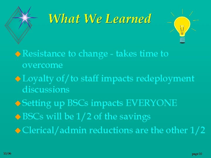 What We Learned u Resistance to change - takes time to overcome u Loyalty