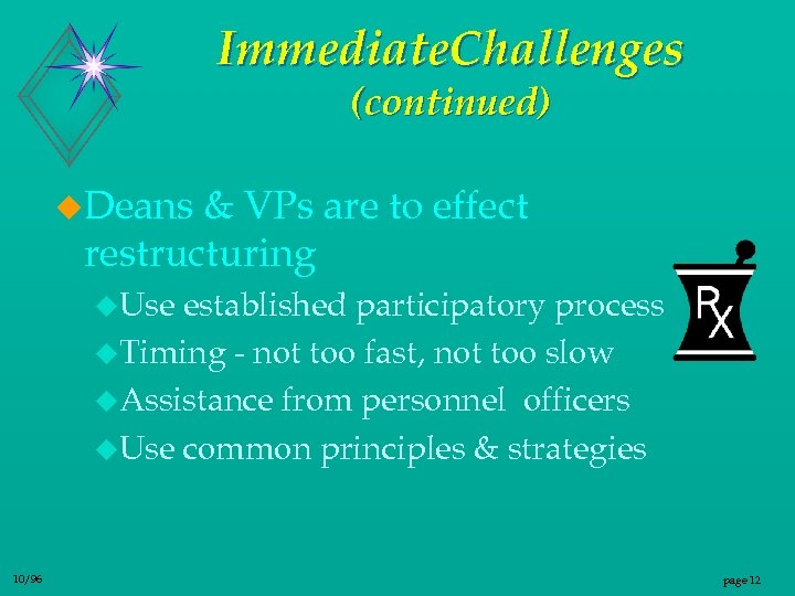 Immediate. Challenges (continued) u. Deans & VPs are to effect restructuring u. Use established