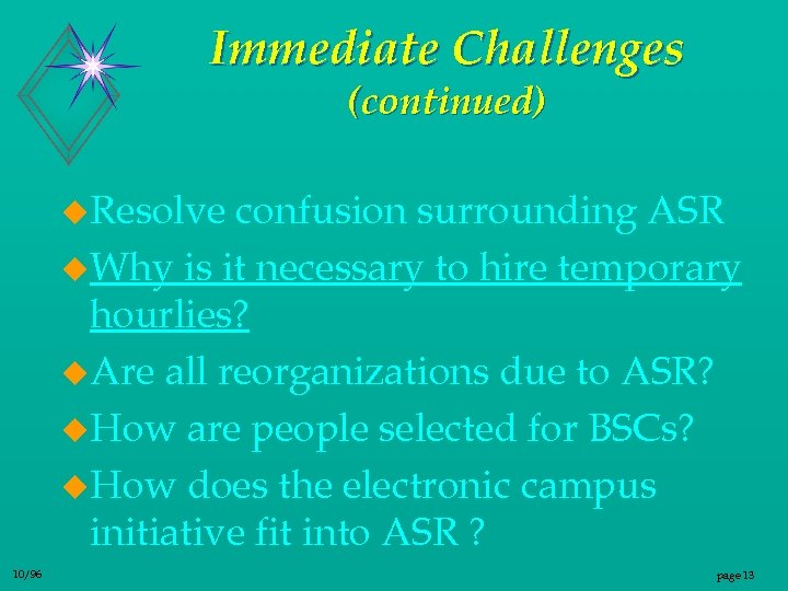 Immediate Challenges (continued) u. Resolve confusion surrounding ASR u. Why is it necessary to