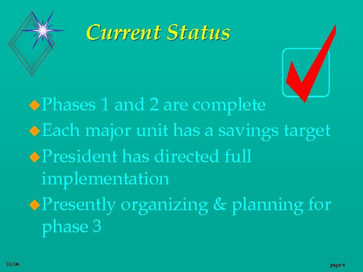 Current Status u. Phases 1 and 2 are complete u. Each major unit has