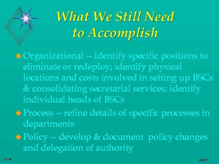 What We Still Need to Accomplish u Organizational -- identify specific positions to eliminate