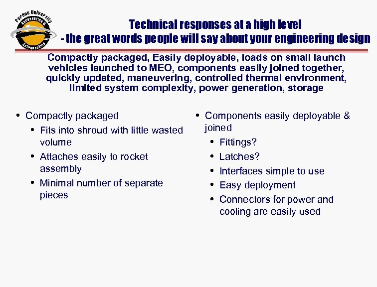 Technical responses at a high level - the great words people will say about