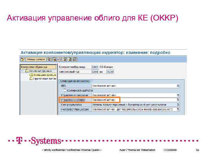 Активация управление облиго для КЕ (OKKP) – strictly confidential / internal / public –
