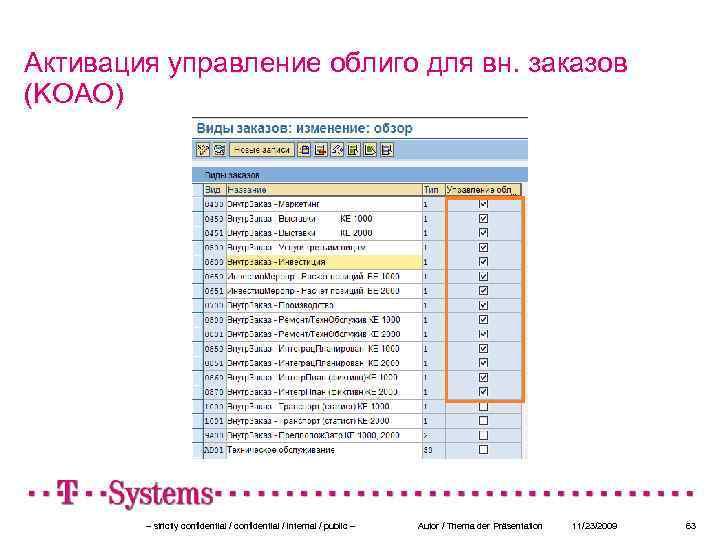 Активация управление облиго для вн. заказов (KOAO) – strictly confidential / internal / public