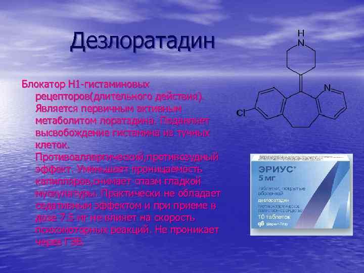 Дезлоратадин Блокатор Н 1 -гистаминовых рецепторов(длительного действия). Является первичным активным метаболитом лоратадина. Подавляет высвобождение
