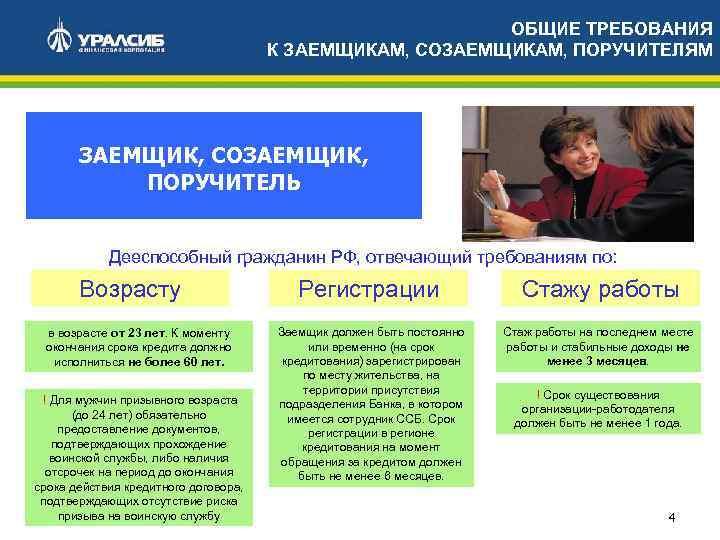 ОБЩИЕ ТРЕБОВАНИЯ К ЗАЕМЩИКАМ, СОЗАЕМЩИКАМ, ПОРУЧИТЕЛЯМ ЗАЕМЩИК, СОЗАЕМЩИК, ПОРУЧИТЕЛЬ Дееспособный гражданин РФ, отвечающий