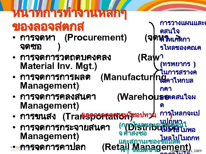 หนาทการทำงานหลกๆ ของลอจสตกส • • การวางแผนและต ดสนใจ การจดหา (Procurement) (จดหา > ทใหเกดกา จดซอ ) รไหลของคณค