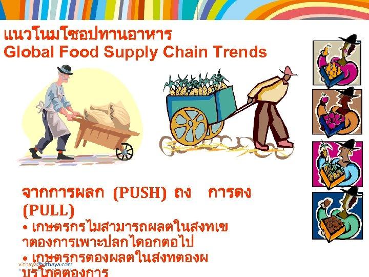 แนวโนมโซอปทานอาหาร Global Food Supply Chain Trends จากการผลก (PUSH) ถง การดง (PULL) • เกษตรกรไมสามารถผลตในสงทเข าตองการเพาะปลกไดอกตอไป