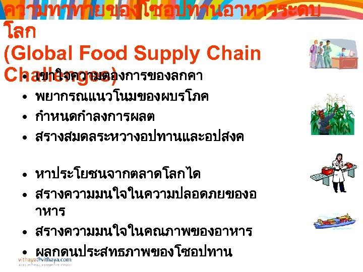 ความทาทายของโซอปทานอาหารระดบ โลก (Global Food Supply Chain • เขาใจความตองการของลกคา Challenges) • พยากรณแนวโนมของผบรโภค • กำหนดกำลงการผลต •