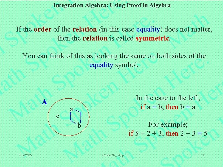 Integration Algebra: Using Proof in Algebra If the order of the relation (in this