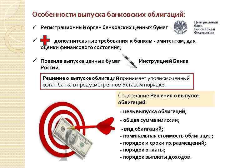 Особенности выпуска банковских облигаций: ü Регистрационный орган банковских ценных бумаг ü дополнительные требования к
