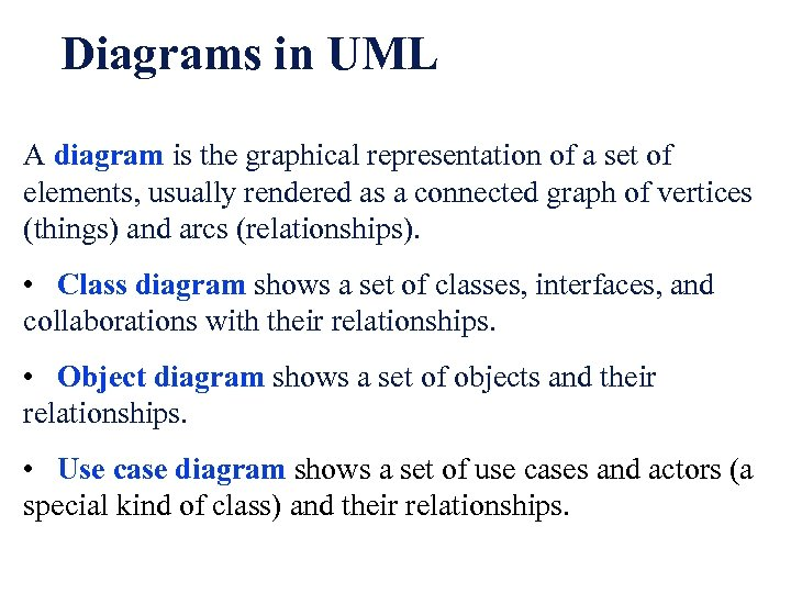 Diagrams in UML A diagram is the graphical representation of a set of elements,