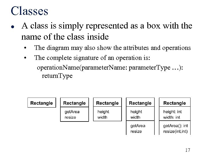 Classes l A class is simply represented as a box with the name of