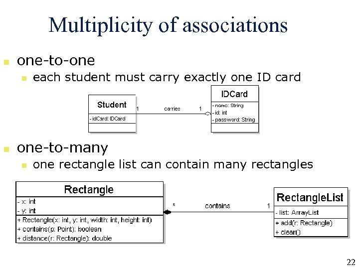 Multiplicity of associations n one-to-one n n each student must carry exactly one ID