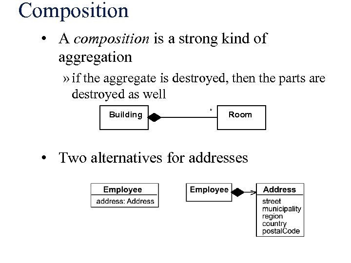 Composition • A composition is a strong kind of aggregation » if the aggregate