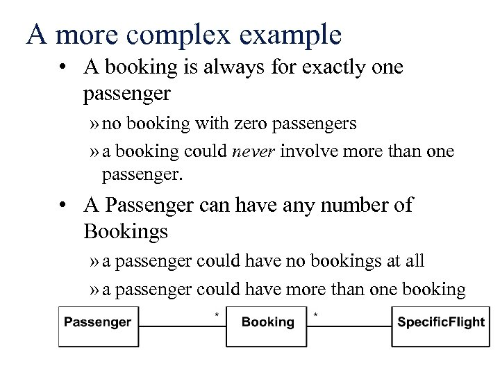 A more complex example • A booking is always for exactly one passenger »