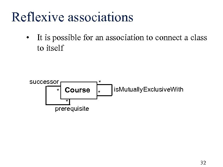 Reflexive associations • It is possible for an association to connect a class to