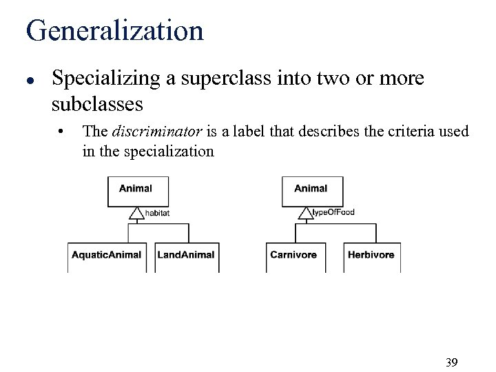 Generalization l Specializing a superclass into two or more subclasses • The discriminator is