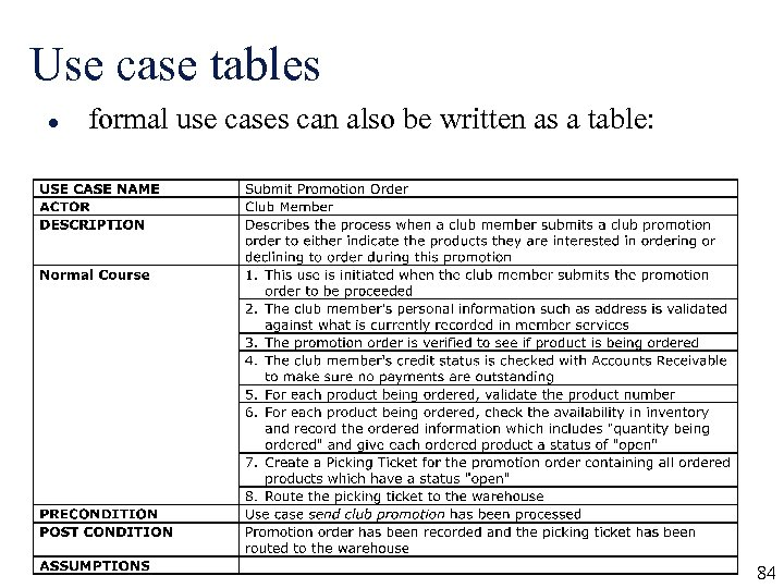 Use case tables l formal use cases can also be written as a table: