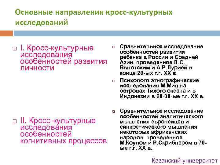 Основные направления кросс-культурных исследований I. Кросс-культурные исследования особенностей развития личности q II. Кросс-культурные исследования