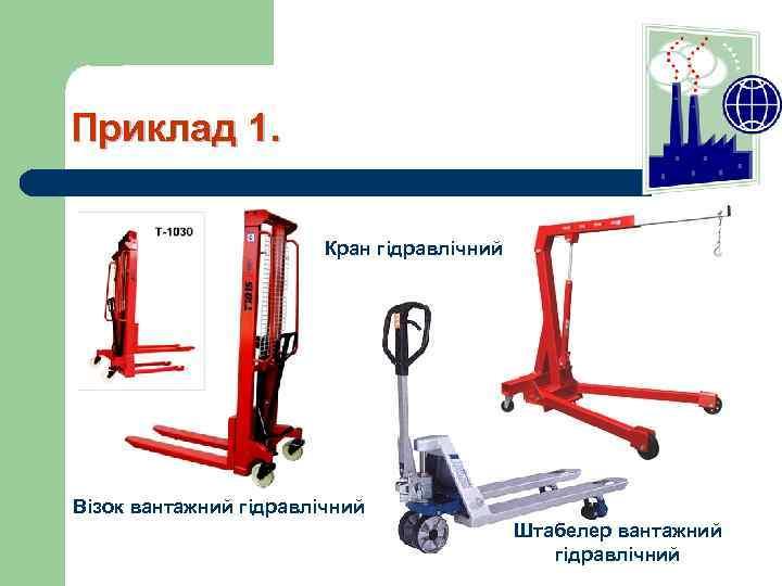 Приклад 1. Кран гідравлічний Візок вантажний гідравлічний Штабелер вантажний гідравлічний