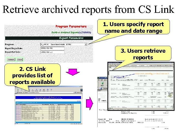 Retrieve archived reports from CS Link 1. Users specify report name and date range