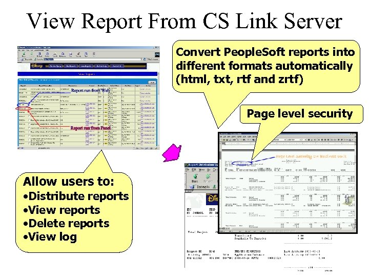 View Report From CS Link Server Convert People. Soft reports into different formats automatically