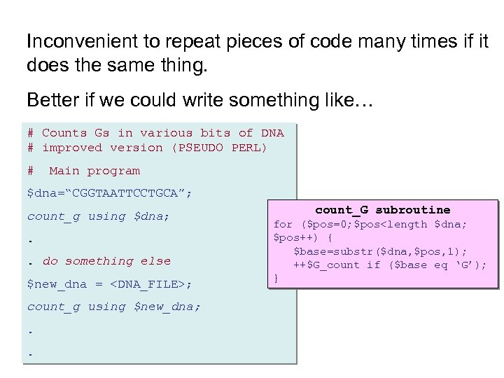 Inconvenient to repeat pieces of code many times if it does the same thing.