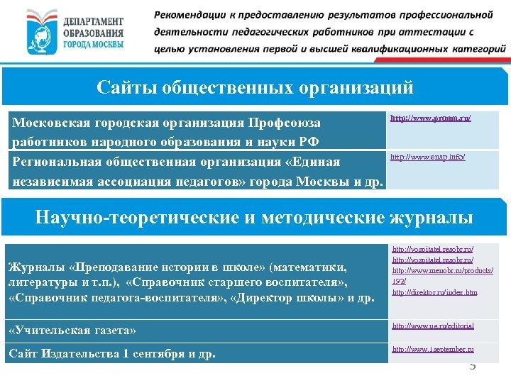 Сайты общественных организаций Московская городская организация Профсоюза работников народного образования и науки РФ Региональная