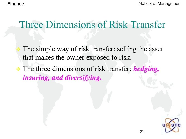 Finance School of Management Three Dimensions of Risk Transfer v The simple way of