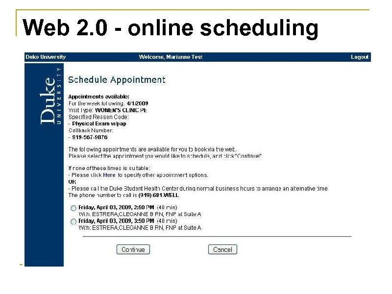 Web 2. 0 - online scheduling