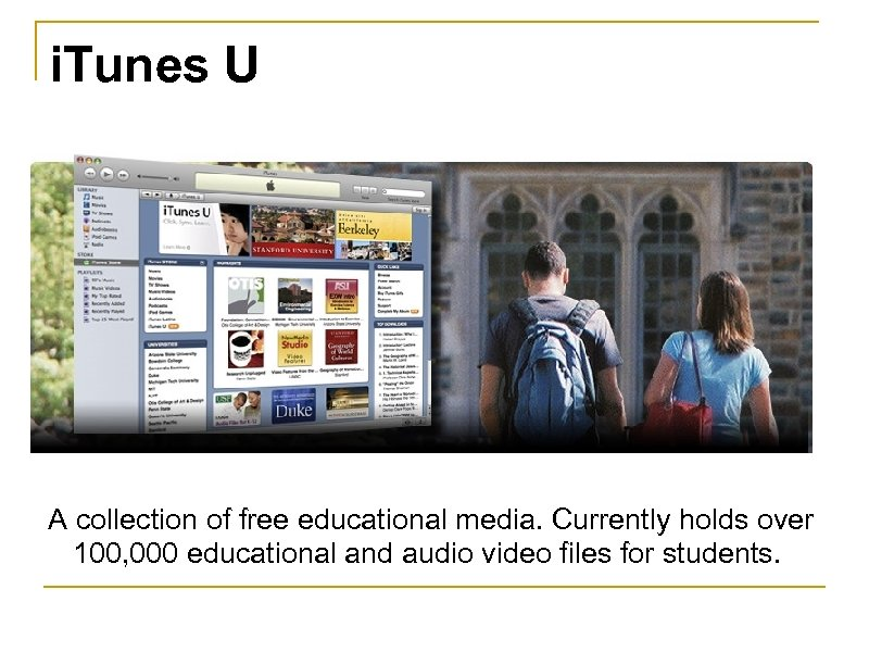 i. Tunes U A collection of free educational media. Currently holds over 100, 000