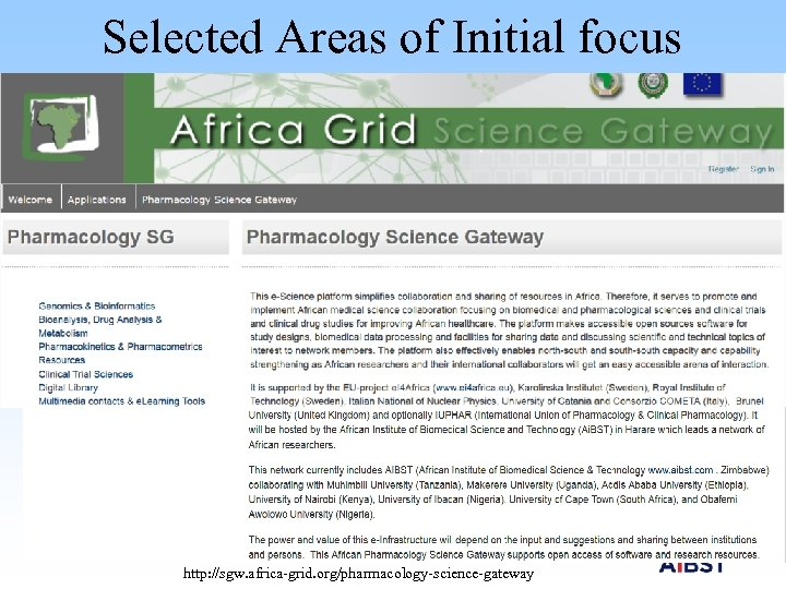 Selected Areas of Initial focus Resources at the Gateway Genomics and Bioinformatics Africa Grid