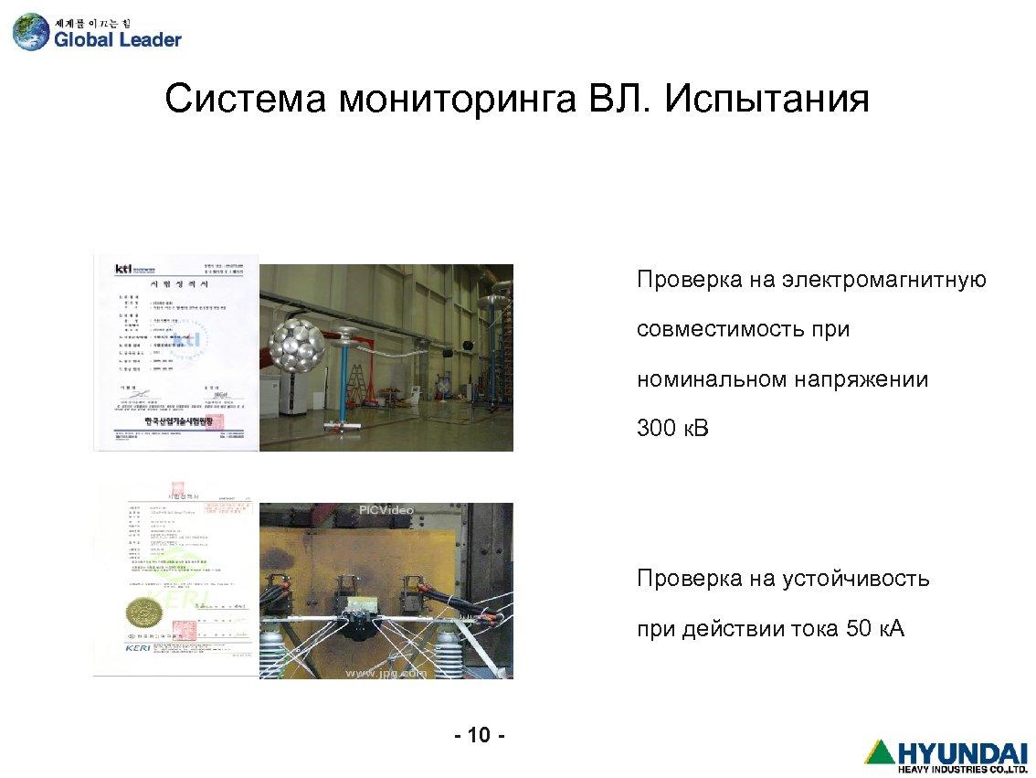 Система мониторинга ВЛ. Испытания Проверка на электромагнитную совместимость при номинальном напряжении 300 к. В