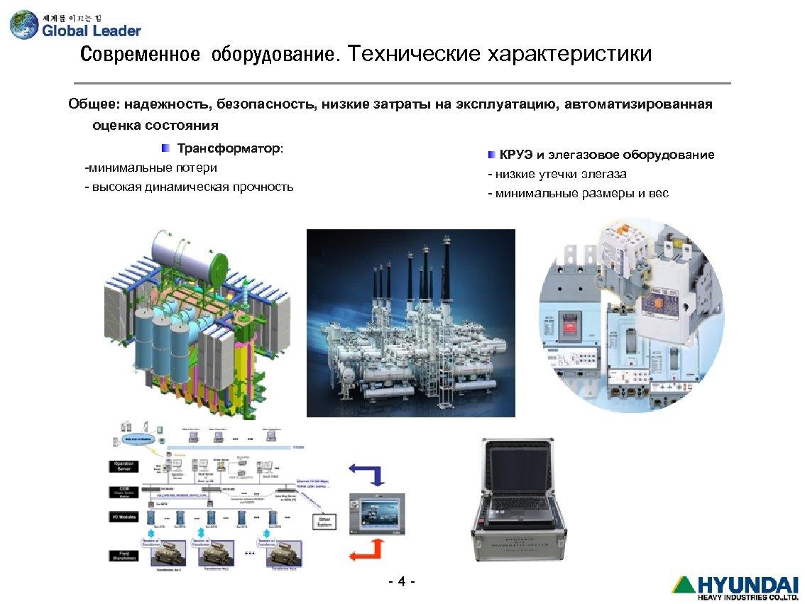 Современное оборудование. Технические характеристики Общее: надежность, безопасность, низкие затраты на эксплуатацию, автоматизированная оценка состояния