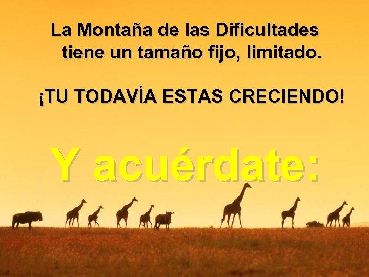 La Montaña de las Dificultades tiene un tamaño fijo, limitado. ¡TU TODAVÍA ESTAS CRECIENDO!