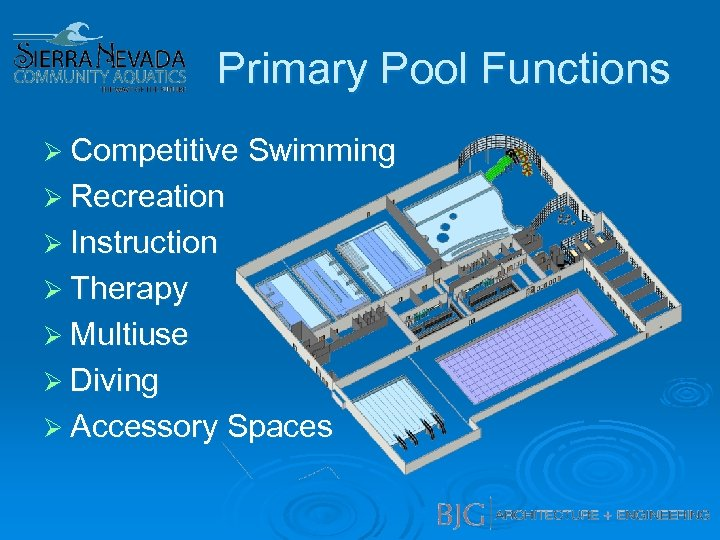 Primary Pool Functions Ø Competitive Swimming Ø Recreation Ø Instruction Ø Therapy Ø Multiuse