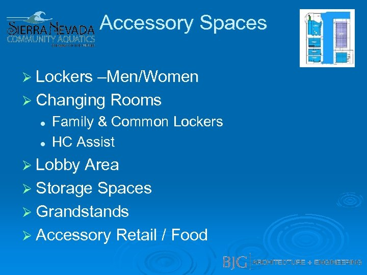 Accessory Spaces Ø Lockers –Men/Women Ø Changing Rooms l l Family & Common Lockers