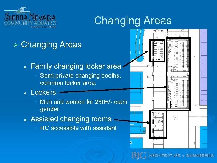 Changing Areas Ø Changing Areas l Family changing locker area • Semi private changing