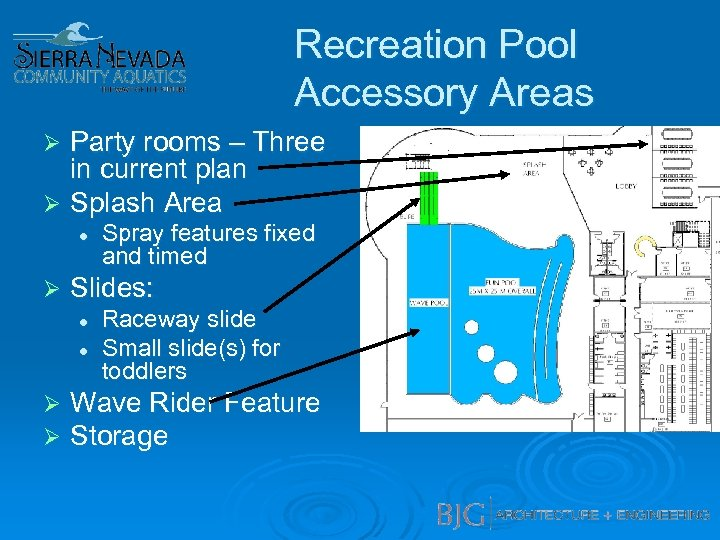 Recreation Pool Accessory Areas Party rooms – Three in current plan Ø Splash Area