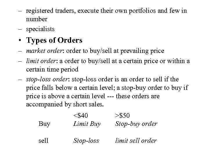 – registered traders, execute their own portfolios and few in number – specialists •