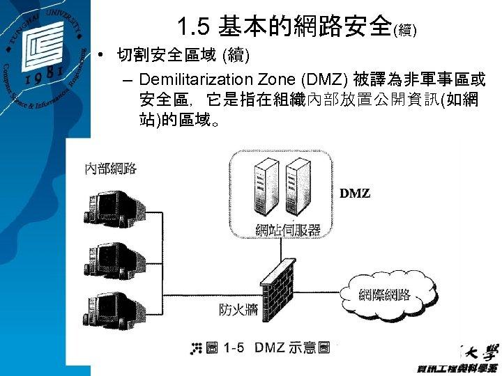 1. 5 基本的網路安全(續) • 切割安全區域 (續) – Demilitarization Zone (DMZ) 被譯為非軍事區或 安全區,它是指在組織內部放置公開資訊(如網 站)的區域。
