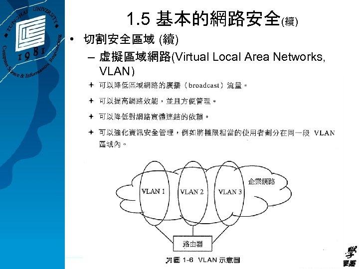 1. 5 基本的網路安全(續) • 切割安全區域 (續) – 虛擬區域網路(Virtual Local Area Networks, VLAN)