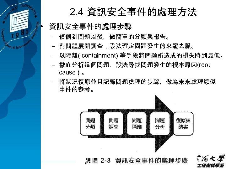 2. 4 資訊安全事件的處理方法 • 資訊安全事件的處理步驟 – – 偵側到問題以後,做簡單的分類與報告。 對問題展開調查,設法確定問題發生的來龍去脈。 以隔離( containment) 等手段將問題所造成的損失降到最低。 徹底分析這個問題,設法尋找問題發生的根本原因(root cause