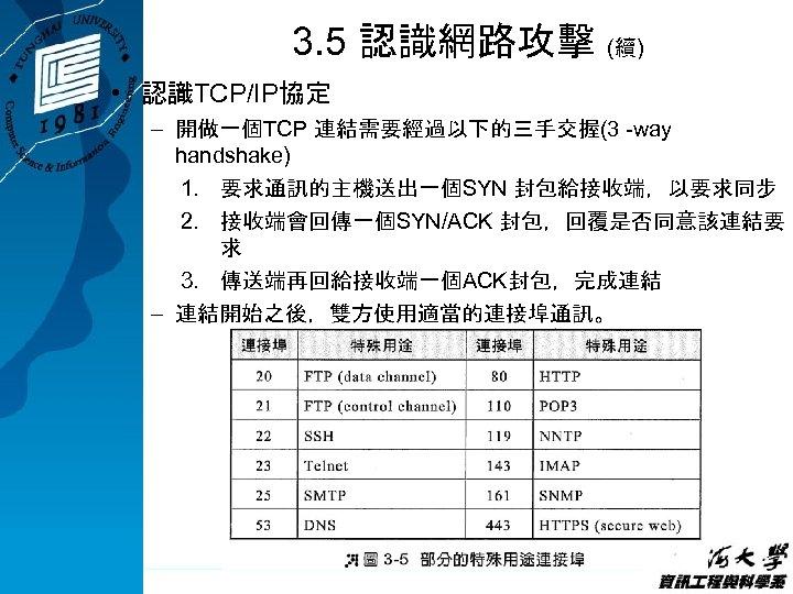 3. 5 認識網路攻擊 (續) • 認識TCP/IP協定 – 開做一個TCP 連結需要經過以下的三手交握(3 -way handshake) 1. 要求通訊的主機送出一個SYN 封包給接收端,以要求同步
