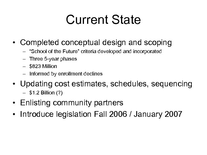 """Current State • Completed conceptual design and scoping – – """"School of the Future"""""""