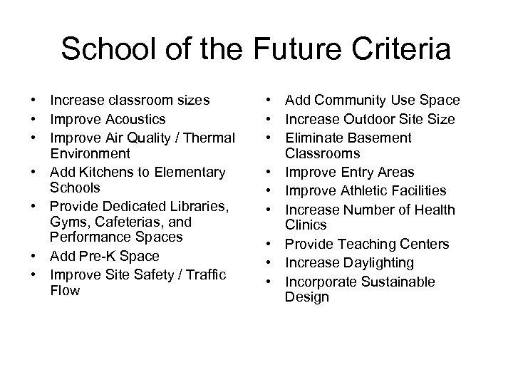 School of the Future Criteria • Increase classroom sizes • Improve Acoustics • Improve