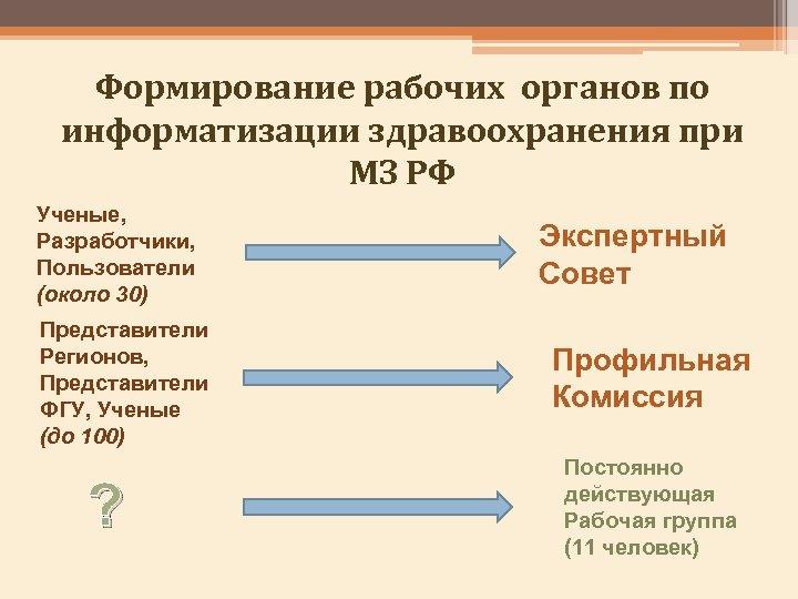 Формирование рабочих органов по информатизации здравоохранения при МЗ РФ Ученые, Разработчики, Пользователи (около 30)