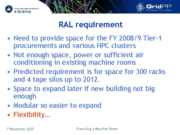 RAL requirement • Need to provide space for the FY 2008/9 Tier-1 procurements and