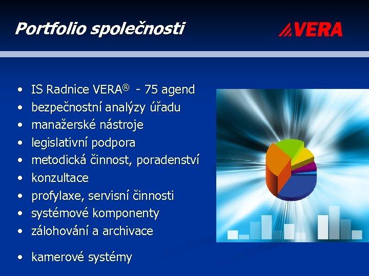 Portfolio společnosti • • • IS Radnice VERA® - 75 agend bezpečnostní analýzy úřadu